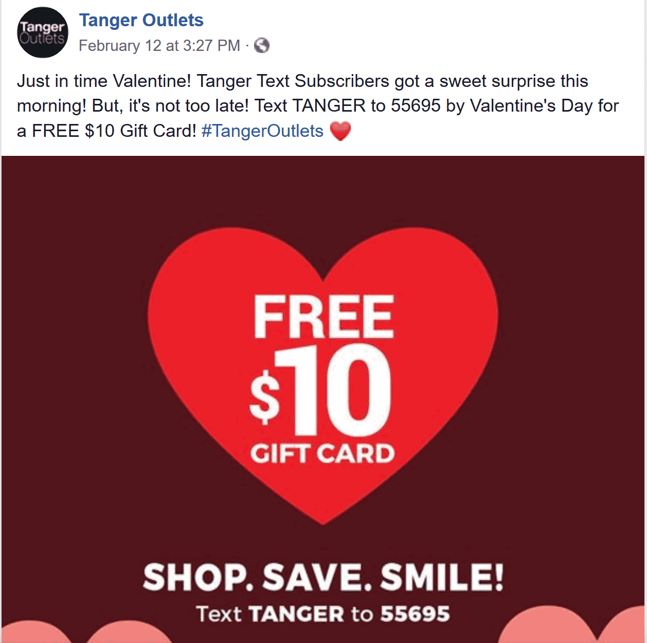 Tanger Coupon July 2019 Free $10 gift card via text at Tanger Outlets