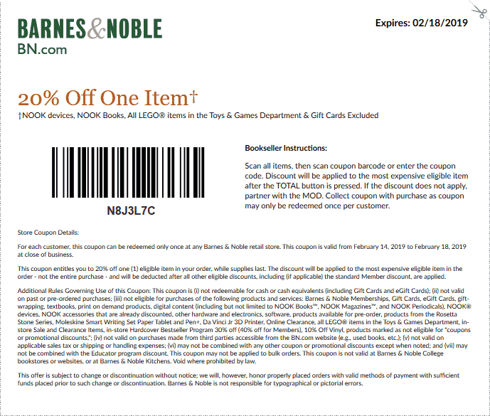Barnes & Noble Coupon January 2020 20% off a single item at Barnes & Noble, or 15% online via promo code SAVE15