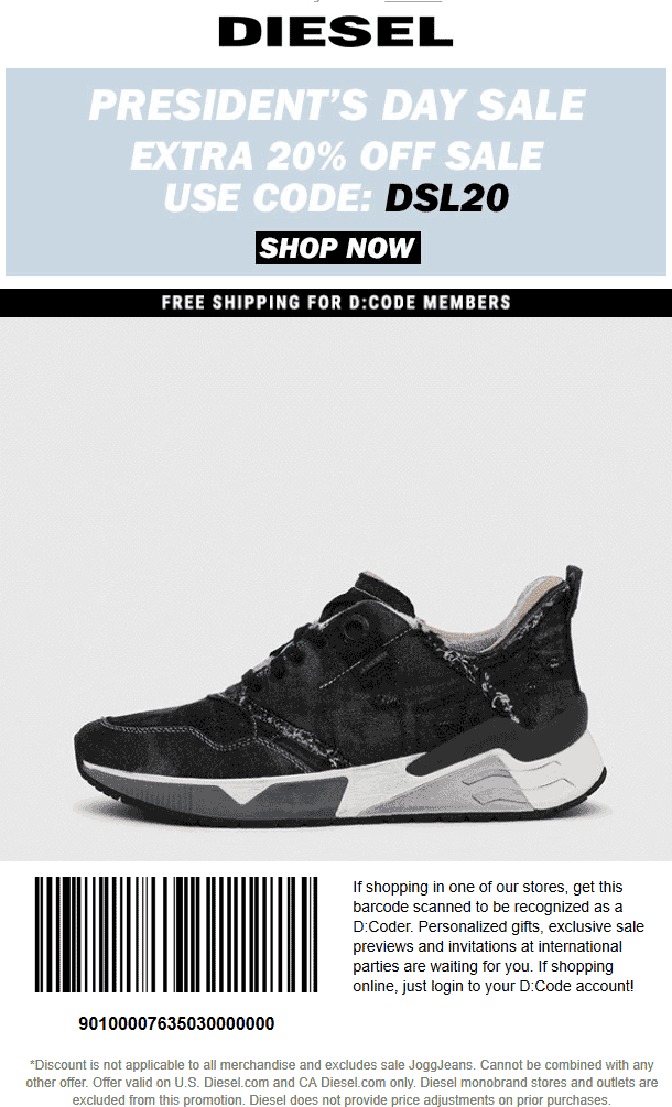 Diesel Coupon May 2019 Extra 20% off sale items at Diesel, or online via promo code DSL20
