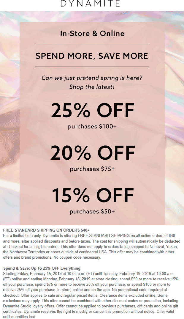 Dynamite Coupon July 2019 15-25% off $50+ at Dynamite, ditto online