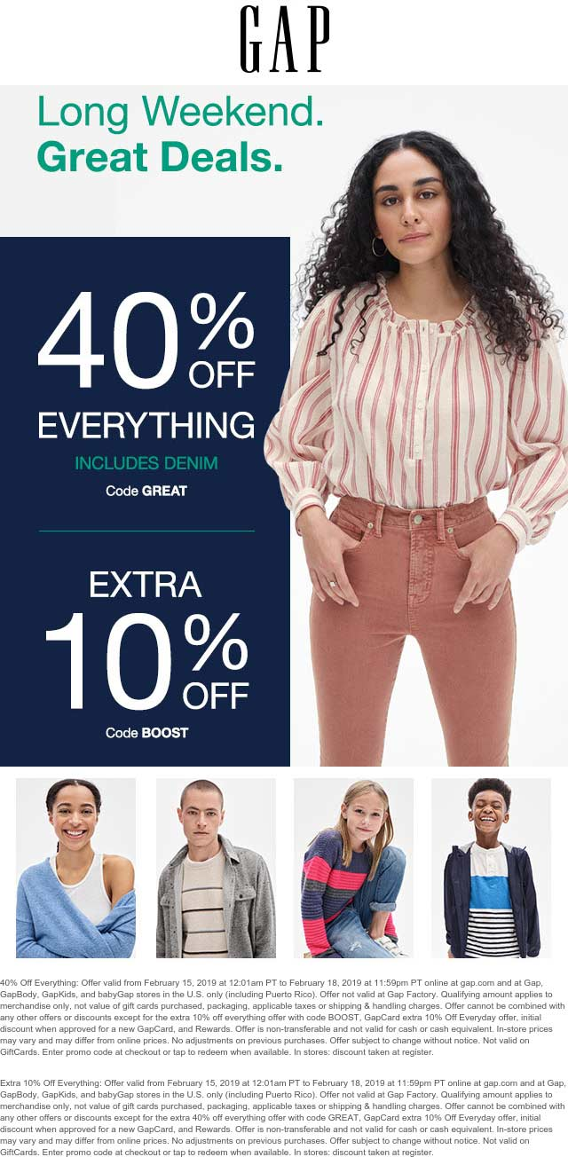 Gap Coupon May 2019 50% off at Gap, or online via promo code GREAT