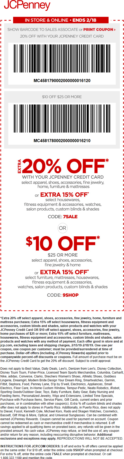 JCPenney.com Promo Coupon $10 off $25 at JCPenney, or online via promo code 9SHOP