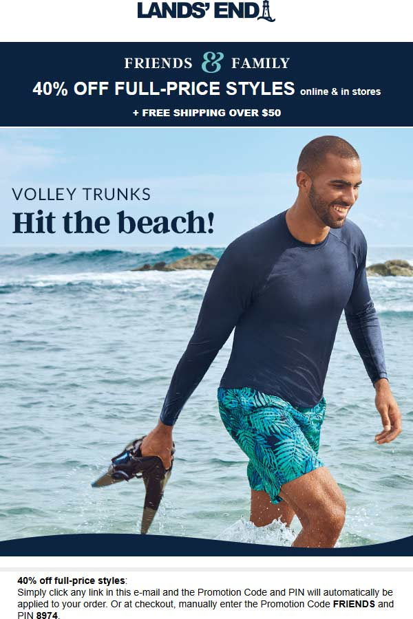 Lands End Coupon January 2020 40% off at Lands End, or online via promo code FRIENDS and pin 8974