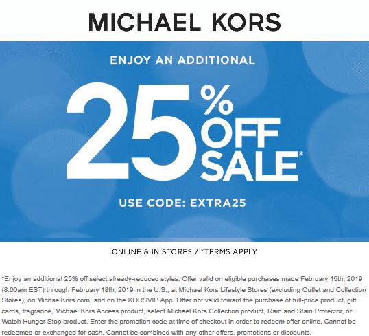 Michael Kors Coupon June 2019 Extra 25% off sale items at Michael Kors, or online via promo code EXTRA25