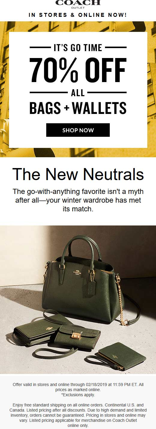 CoachOutlet.com Promo Coupon 70% off all bags at Coach Outlet, ditto online