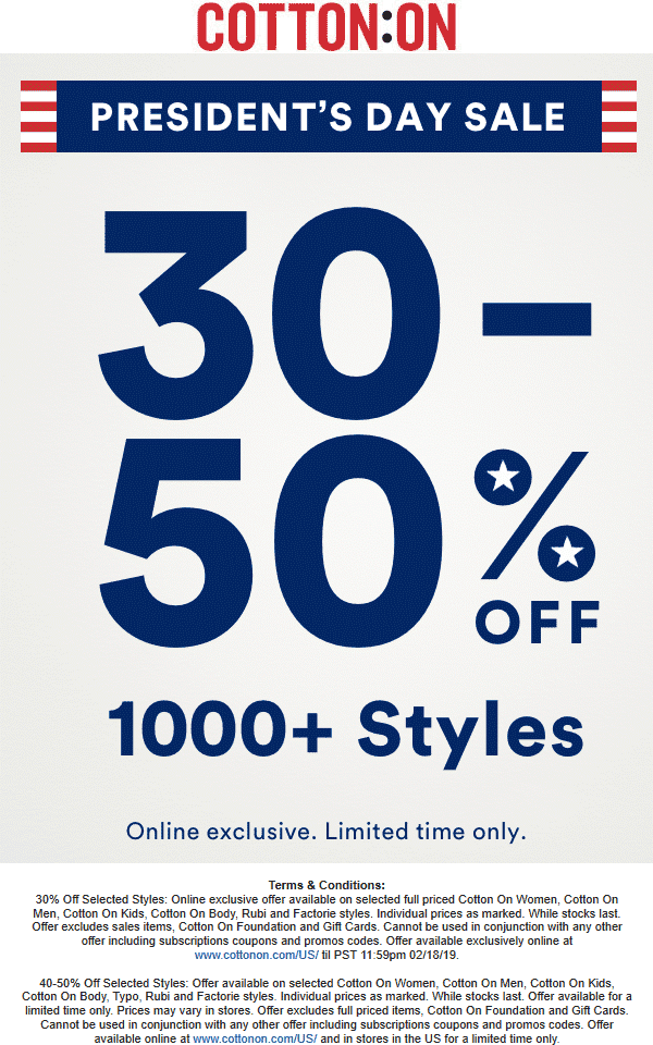 Cotton On Coupon August 2019 40-50% off at Cotton On, or 30% online