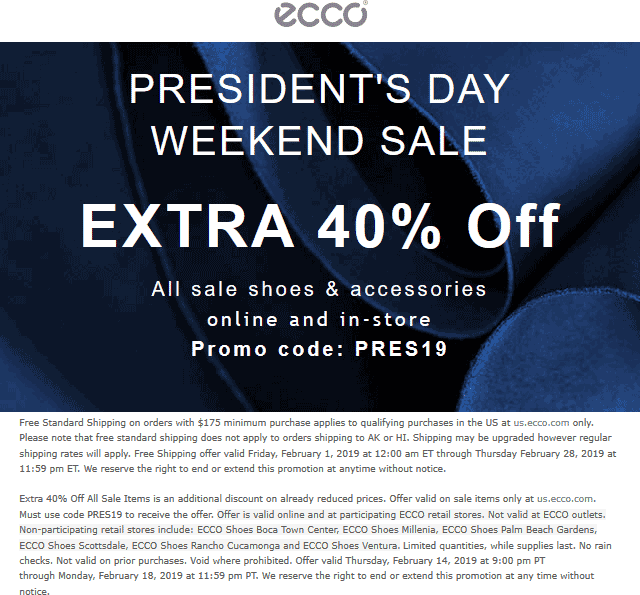 ECCO Coupon November 2019 Extra 40% off at ECCO, or online via promo code PRES19