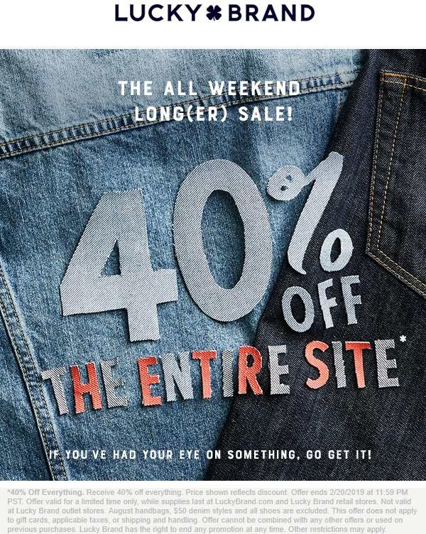 LuckyBrand.com Promo Coupon 40% off everything at Lucky Brand, ditto online