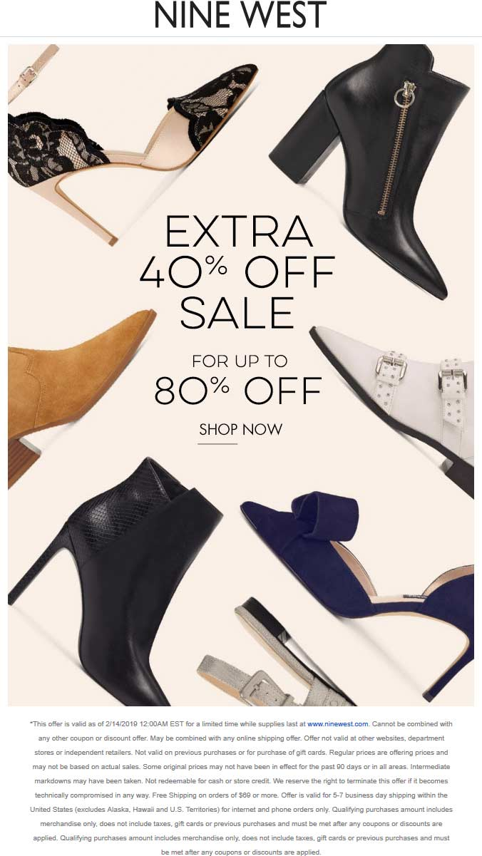 NineWest.com Promo Coupon Extra 40-80% off online at Nine West