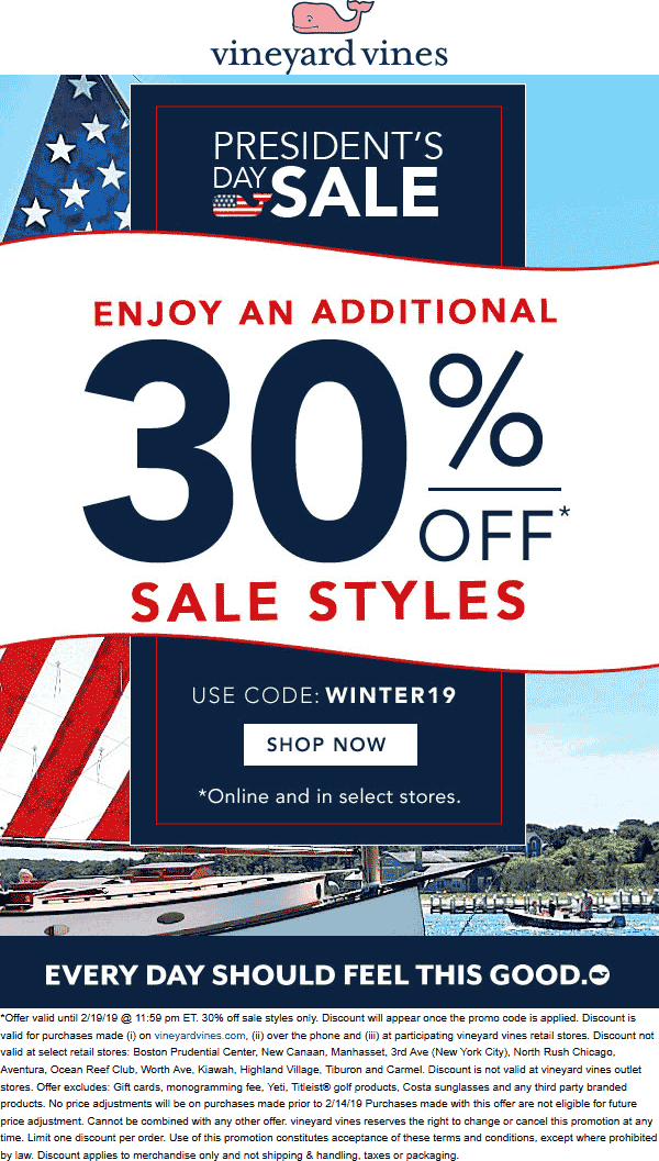 Vineyard Vines Coupon July 2019 Extra 30% off sale items at Vineyard Vines, or online via promo code WINTER19