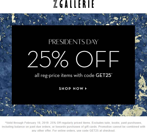 Z Gallerie Coupon August 2019 25% off at Z Gallerie, or online via promo code GET25