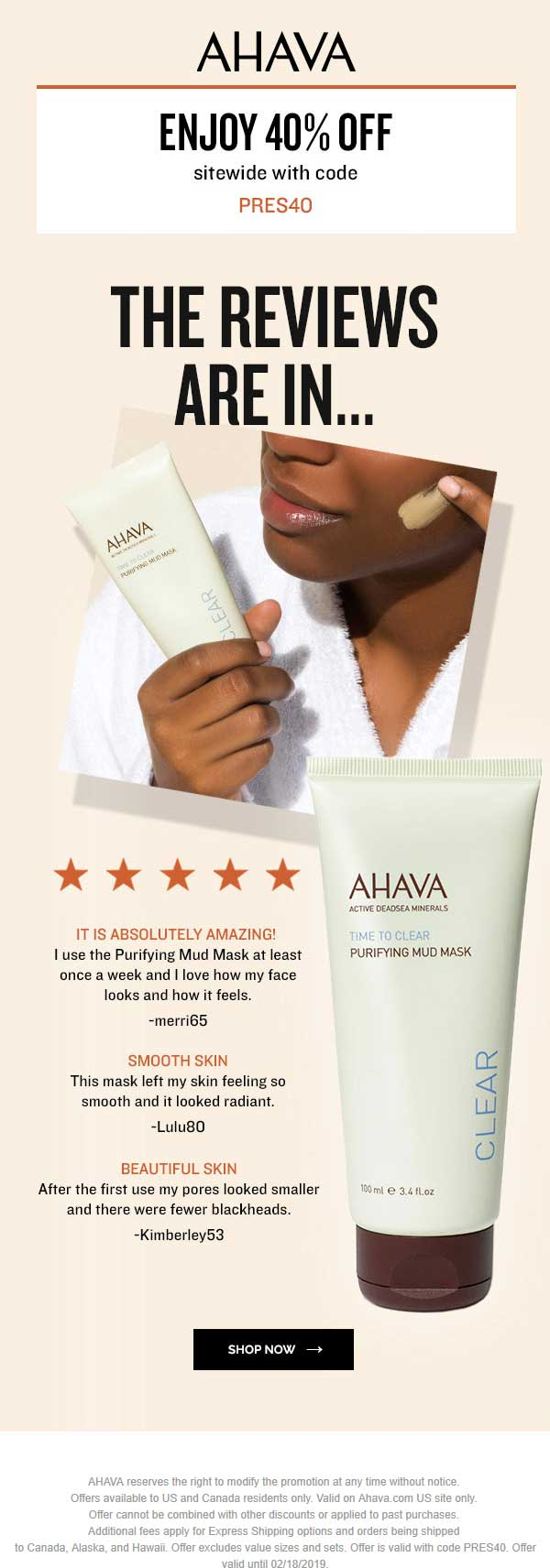 AHAVA Coupon August 2019 40% off everything online at AHAVA via promo code PRES40