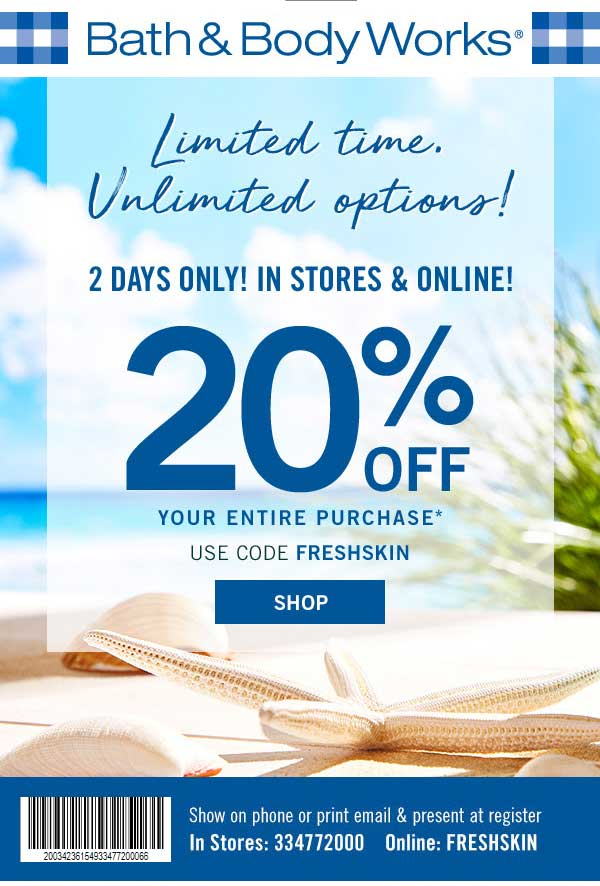 Bath & Body Works Coupon May 2019 20% off at Bath & Body Works, or online via promo code FRESHSKIN