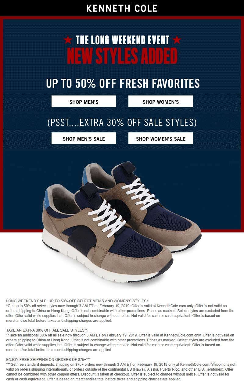 Kenneth Cole Coupon October 2019 Extra 30% off sale items online at Kenneth Cole