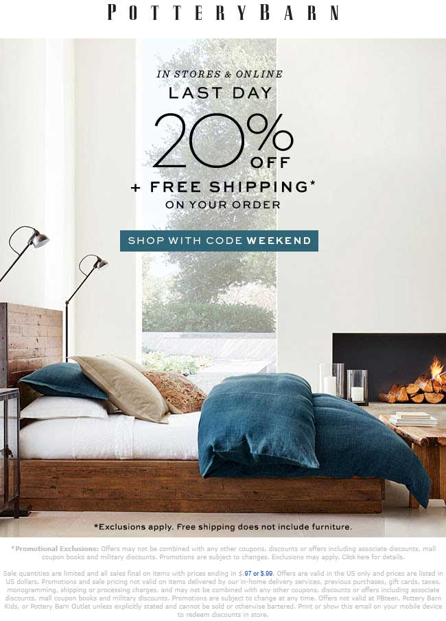 Pottery Barn Coupon December 2019 20% off today at Pottery Barn, or online via promo code WEEKEND