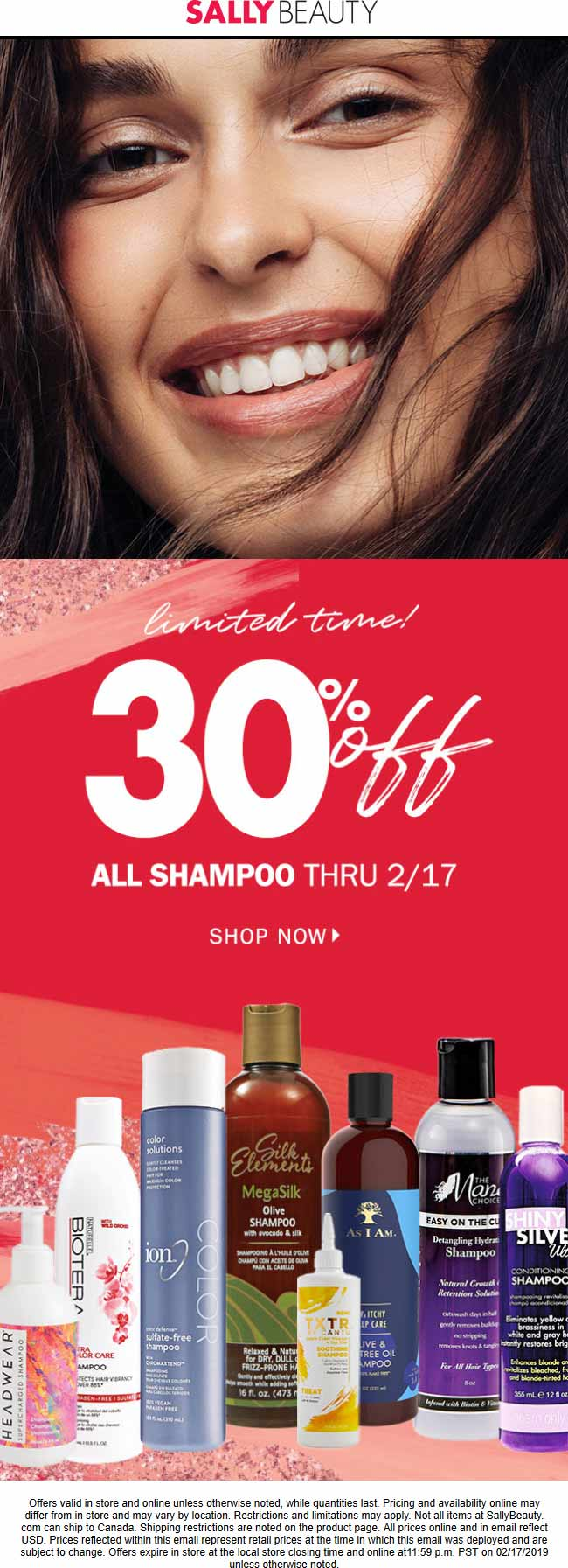 Sally Beauty Coupon August 2019 30% off all shampoo today at Sally Beauty, ditto online