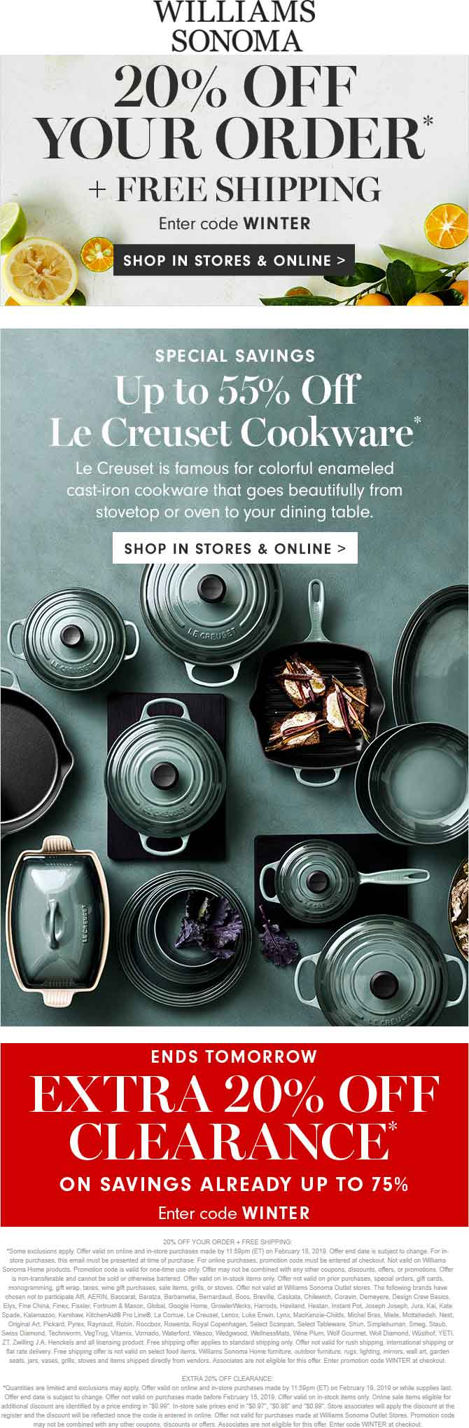 Williams Sonoma Coupon May 2019 20% off at Williams Sonoma, or online via promo code WINTER