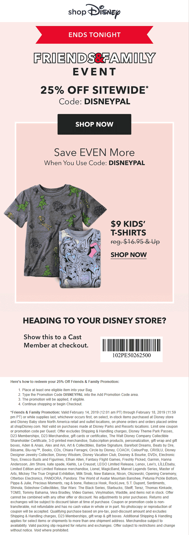 Disney Store Coupon July 2019 25% off today at Disney store, or online via promo code DISNEYPAL