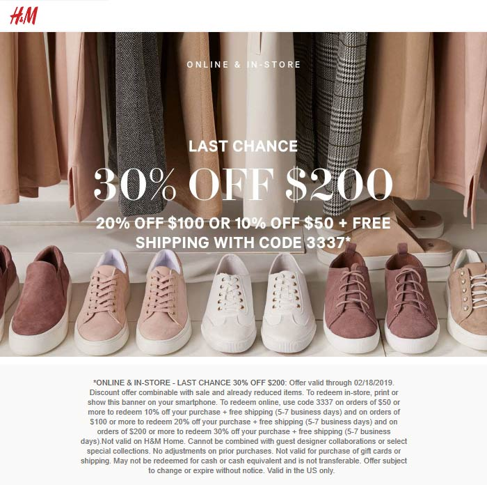 H&M.com Promo Coupon 20% off $100 & more today at H&M, or online via promo code 3337