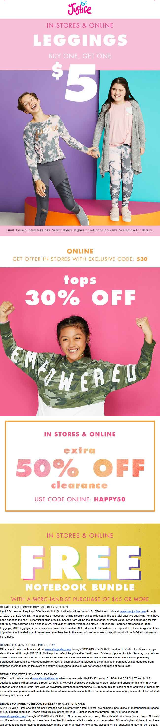 Justice Coupon March 2019 30% off tops today at Justice, ditto online