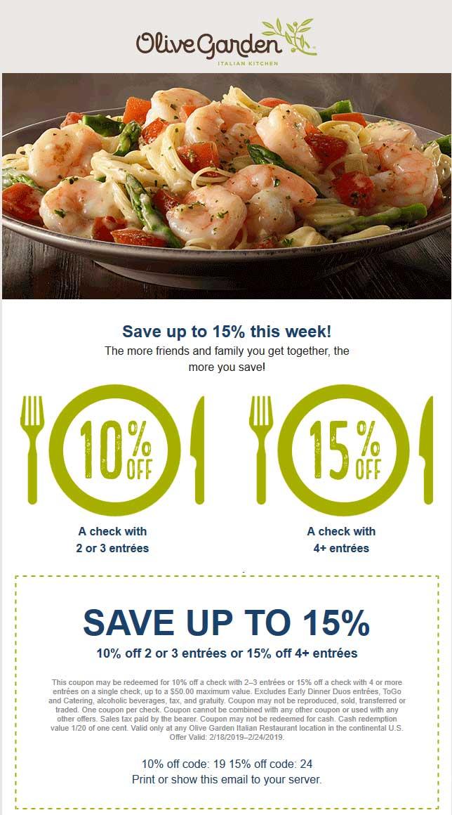 OliveGarden.com Promo Coupon 10-15% off at Olive Garden restaurants