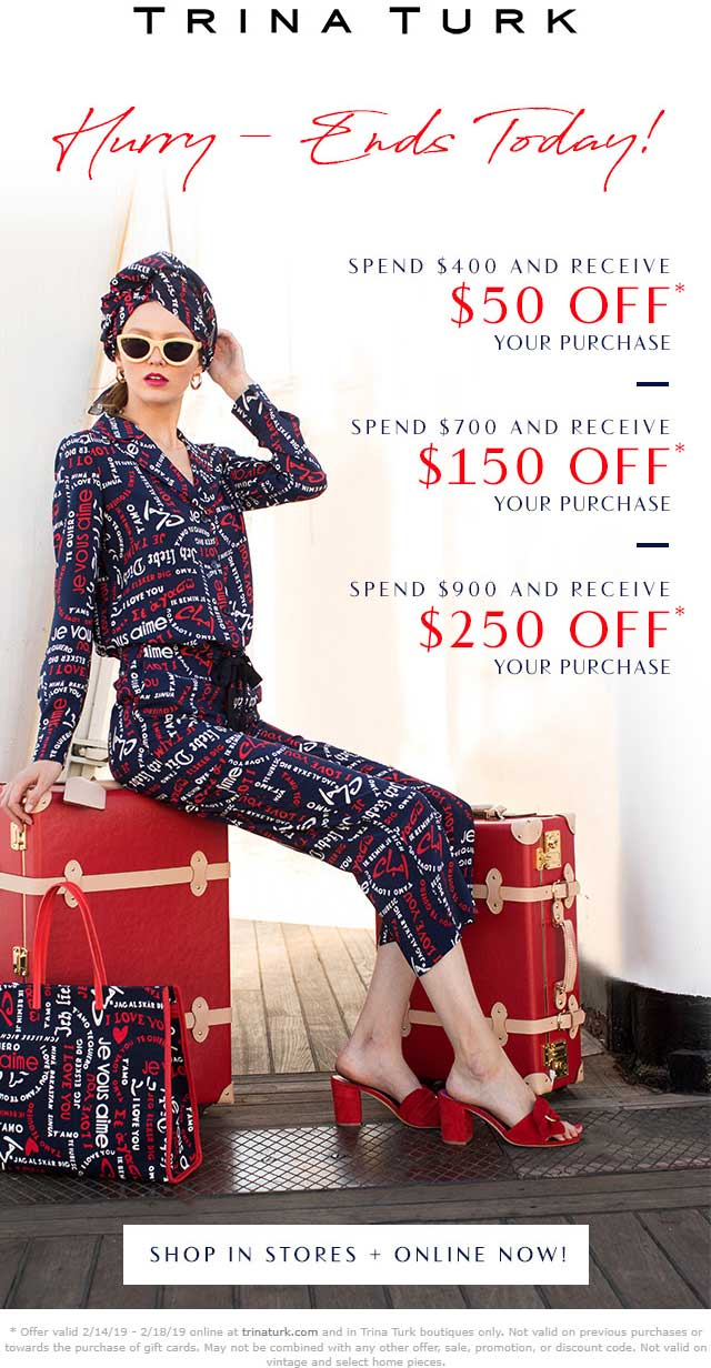 Trina Turk Coupon November 2019 $50-$250 off $400+ today at Trina Turk, ditto online