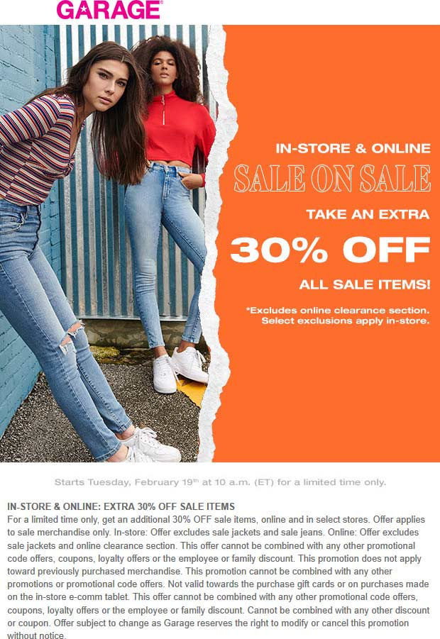 Garage Coupon September 2019 Extra 30% off sale items at Garage, ditto online