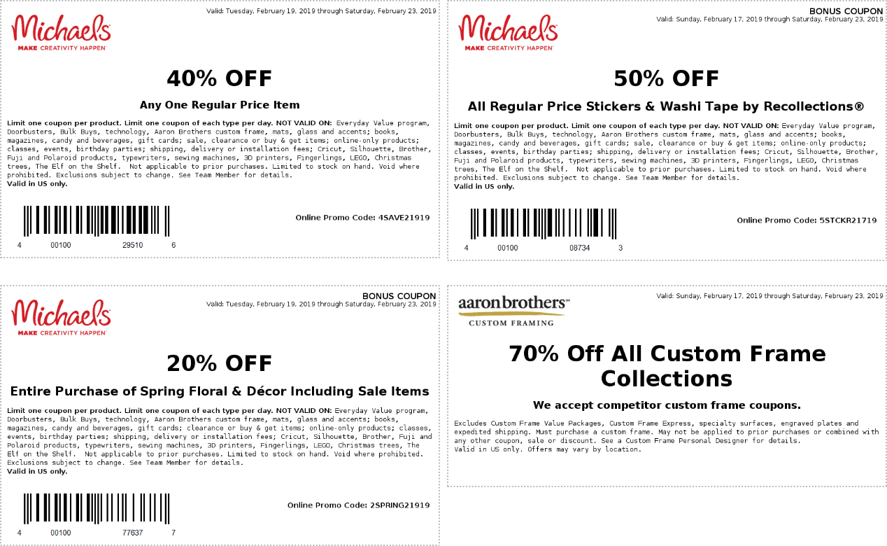 Michaels Coupon January 2020 40% off a single item & more at Michaels, or online via promo code 4SAVE21919