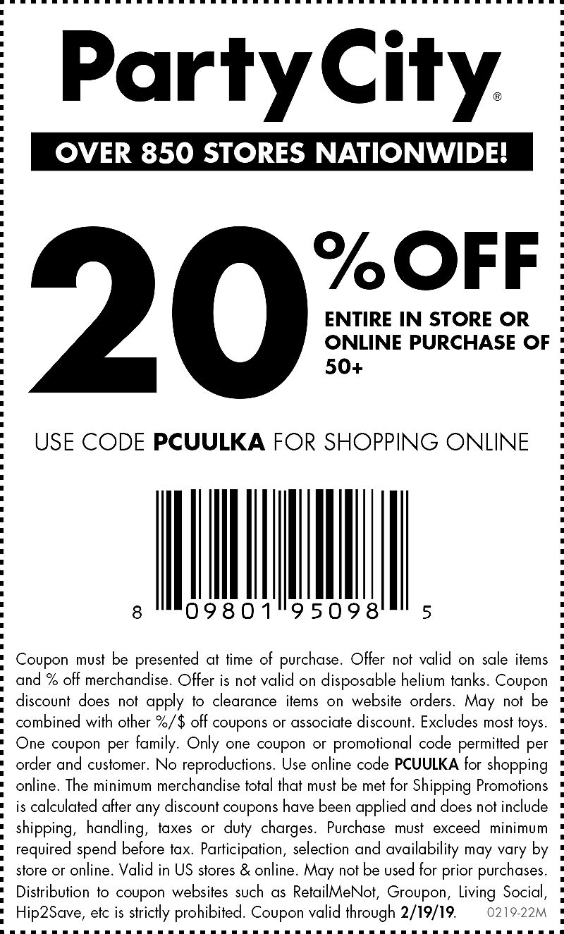 PartyCity.com Promo Coupon 20% off $50+ today at Party City, or online via promo code PCUULKA