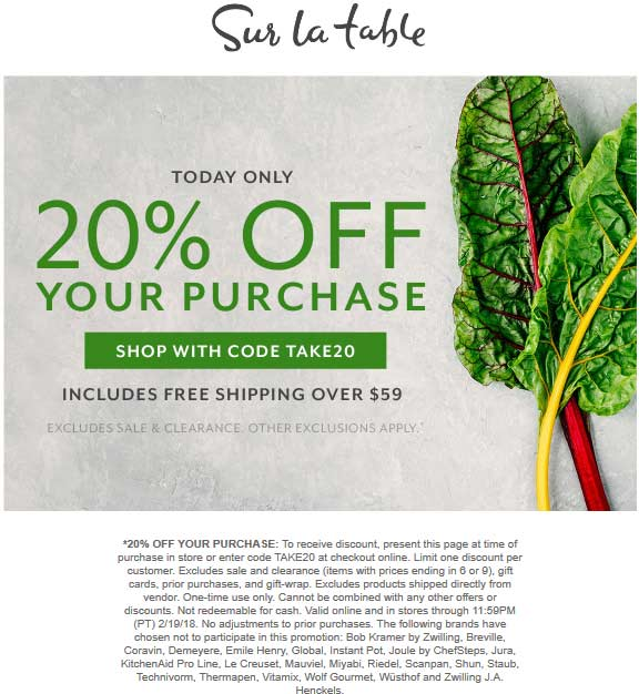 Sur La Table Coupon September 2019 20% off today at Sur la Table, or online via promo code TAKE20
