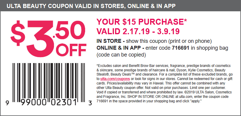Ulta Coupon August 2019 $3.50 off $15 at Ulta Beauty, or online via promo code 716691