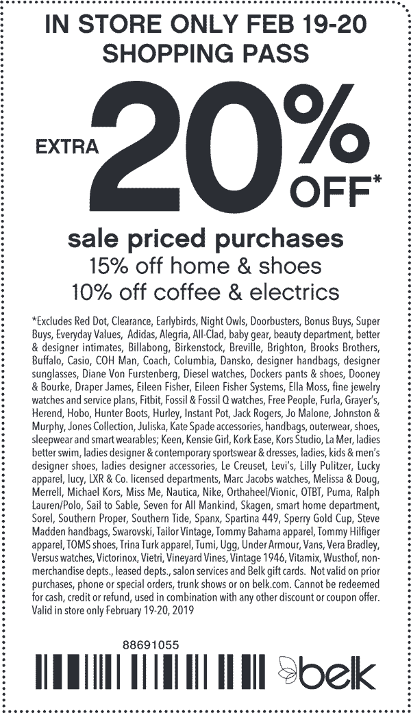 Belk Coupon May 2019 Extra 20% off today at Belk, or online via promo code MORESAVINGS