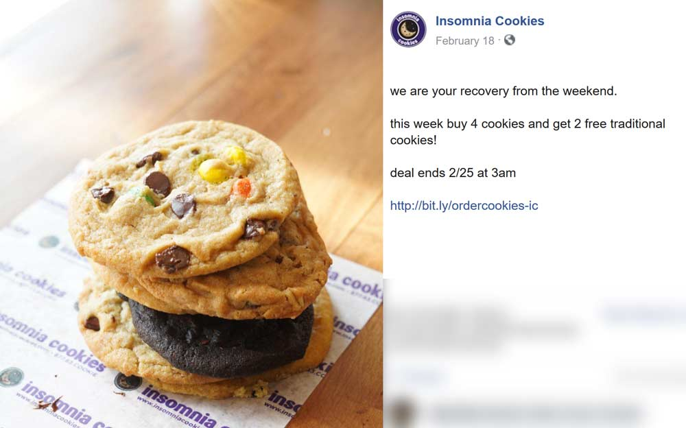 Insomnia Cookies Coupon January 2020 Couple free cookies with your 4-pack at Insomnia Cookies