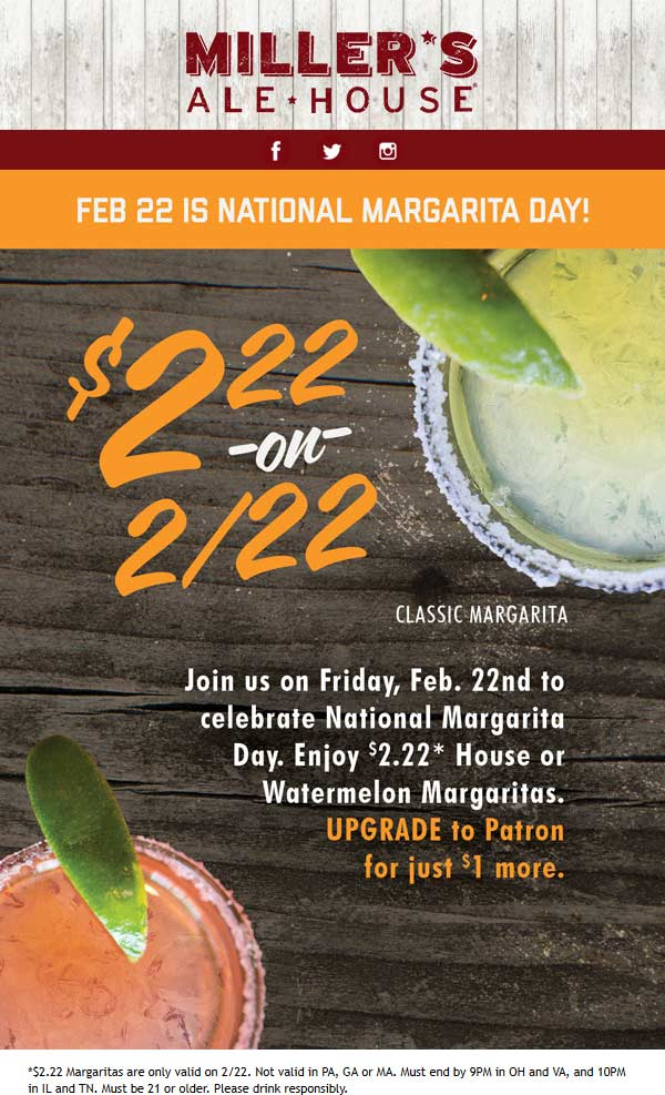 Millers Ale House Coupon July 2019 $2.22 margaritas Friday at Millers Ale House restaurants