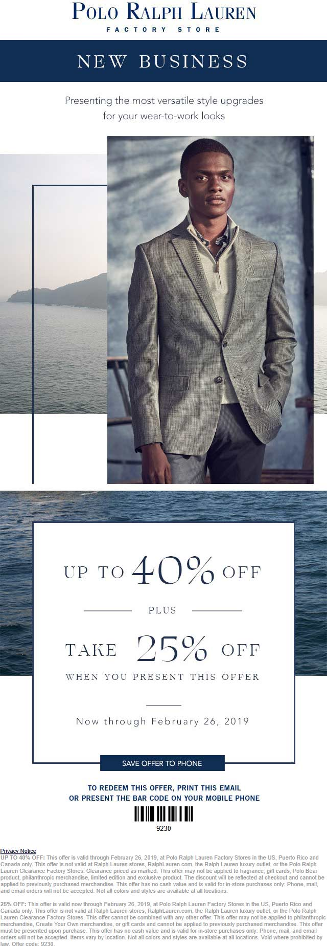 Ralph Lauren Coupon September 2019 25% off at Polo Ralph Lauren & Factory locations
