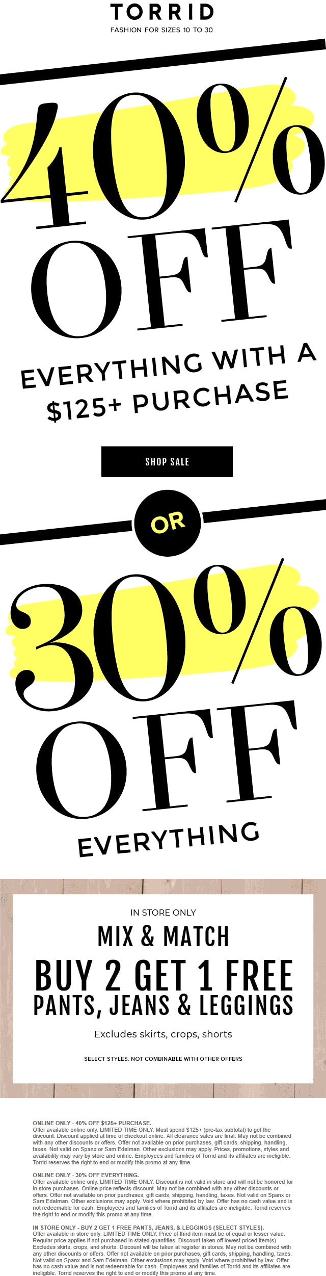 Torrid Coupon October 2019 30-40% off everything online today at Torrid