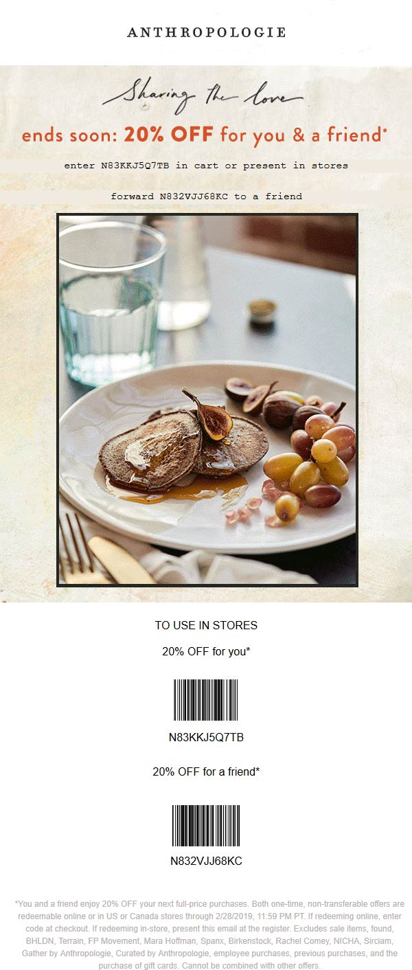 Anthropologie Coupon June 2019 20% off at Anthropologie, or online via promo code N83KKJ5Q7TB