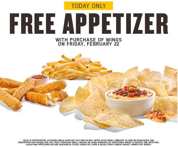 Buffalo Wild Wings Coupon May 2019 Free appetizer with your wings today at Buffalo Wild Wings