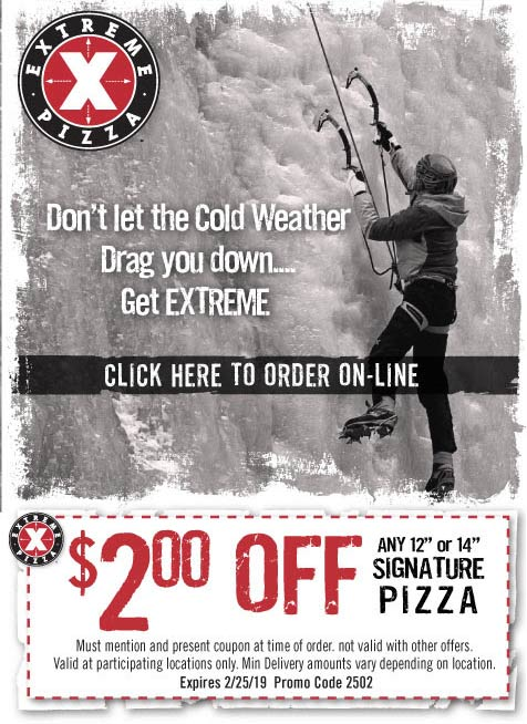 Extreme Pizza Coupon January 2020 $2 off at Extreme Pizza