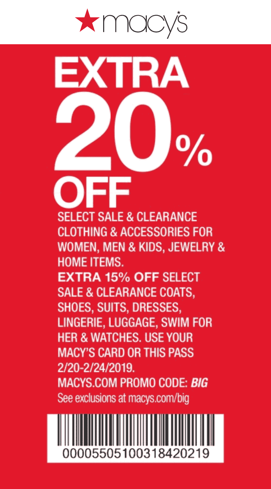 Macys Coupon January 2020 Extra 20% off at Macys, or online via promo code BIG