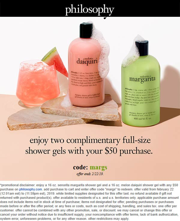 Philosophy Coupon November 2019 Couple free full-size shower gels with $50 spent online today at Philosophy via promo code margs