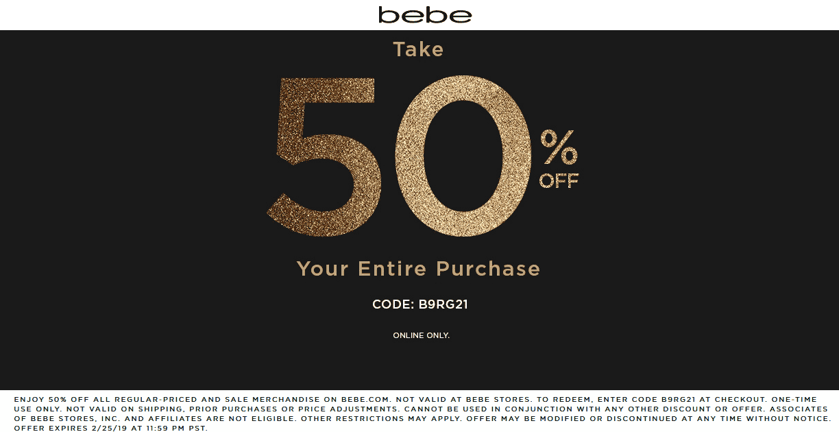 Bebe Coupon October 2019 50% off everything online at bebe via promo code B9RG21