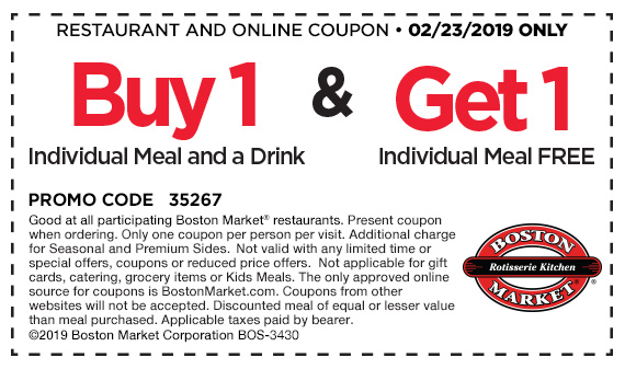 Boston Market Coupon May 2019 Second meal free today at Boston Market