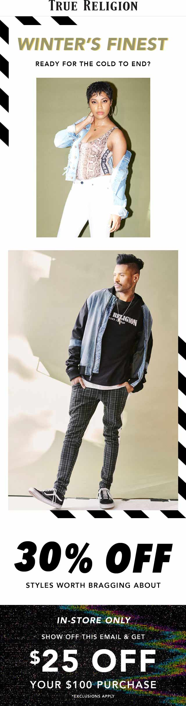 True Religion Coupon January 2020 $25 off $100 at True Religion