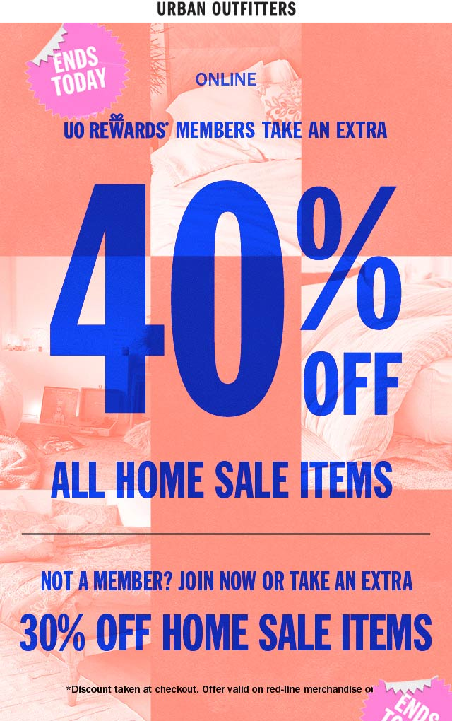 Urban Outfitters Coupon December 2019 Extra 40% off home sale items online today at Urban Outfitters