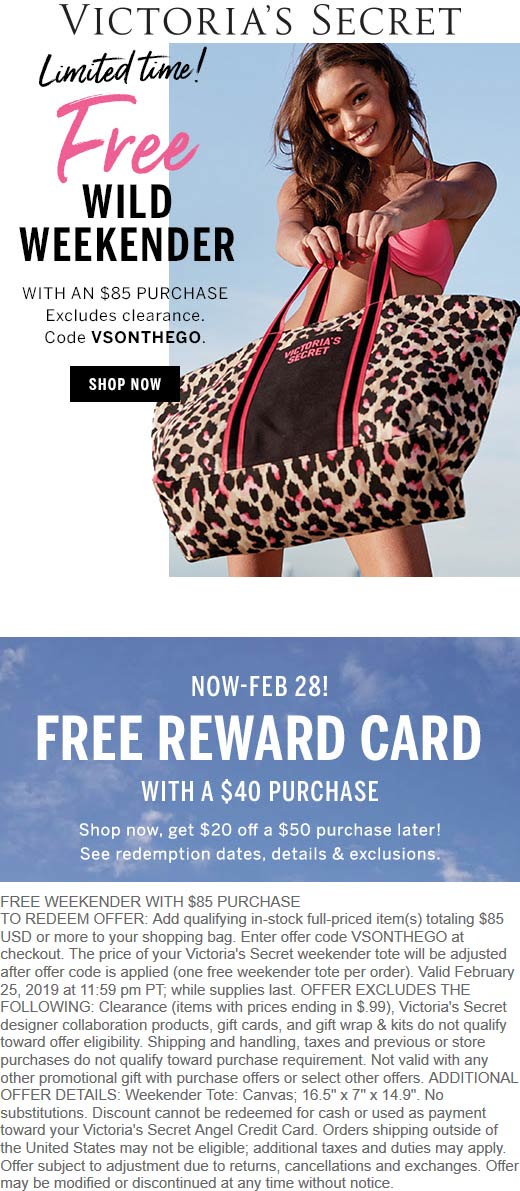 Victorias Secret Coupon May 2019 Free weekender with $85 spent at Victorias Secret via promo code VSONTHEGO