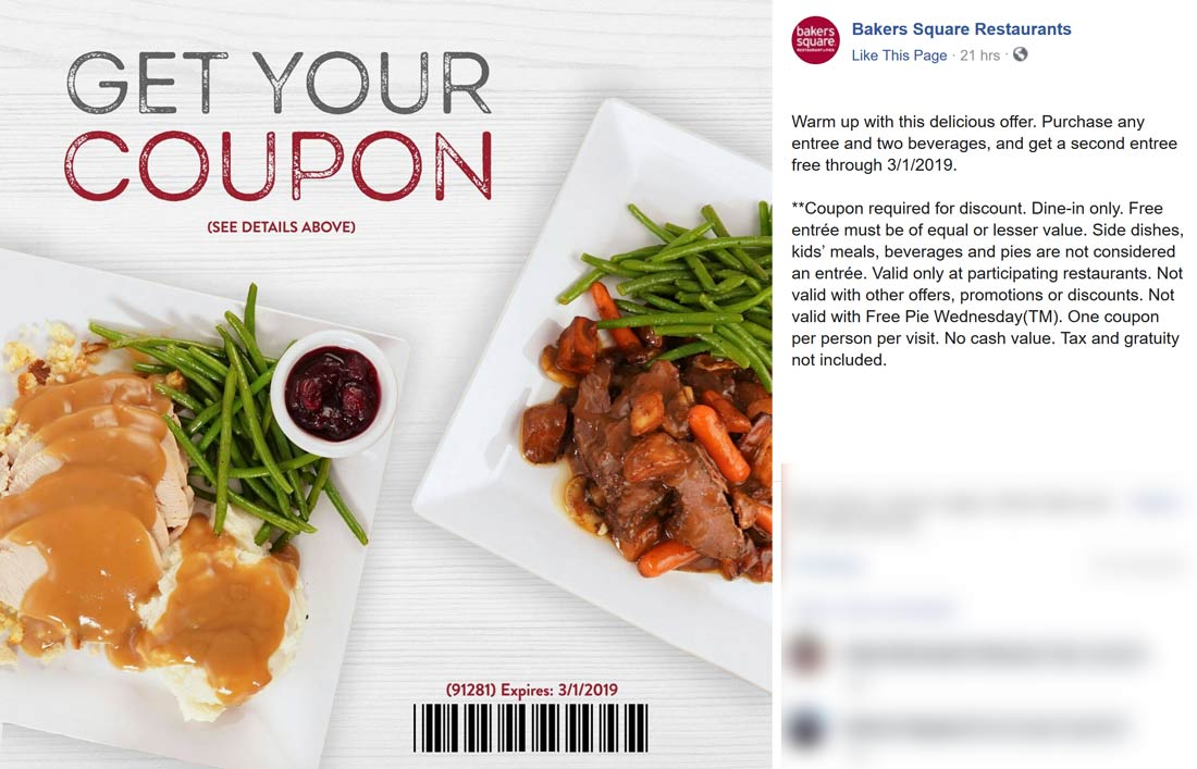 Bakers Square Coupon November 2019 Second entree free at Bakers Square