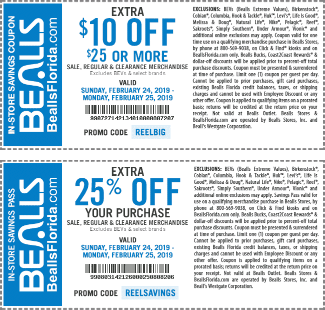 Bealls Coupon November 2019 $10 off $25 & more today at Bealls, or online via promo code REELBIG