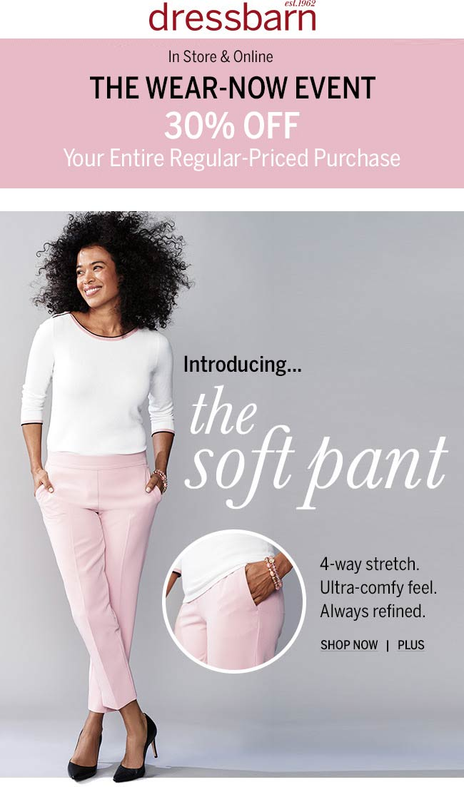 Dressbarn Coupon November 2019 30% off today at Dressbarn, ditto online