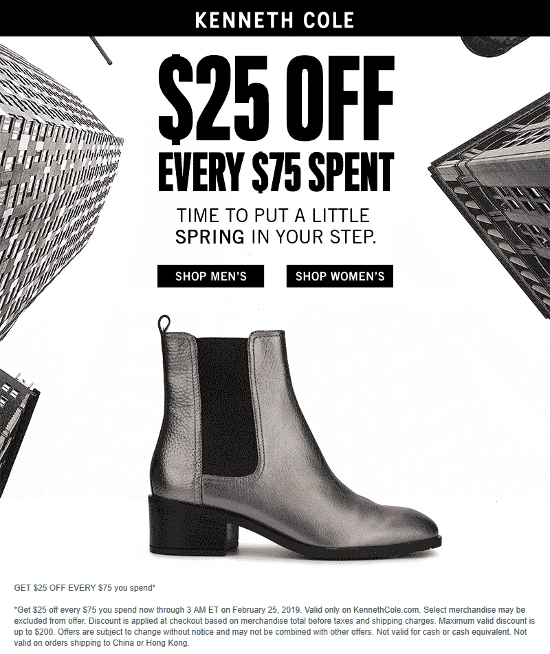 Kenneth Cole Coupon July 2019 $25 off every $75 online today at Kenneth Cole